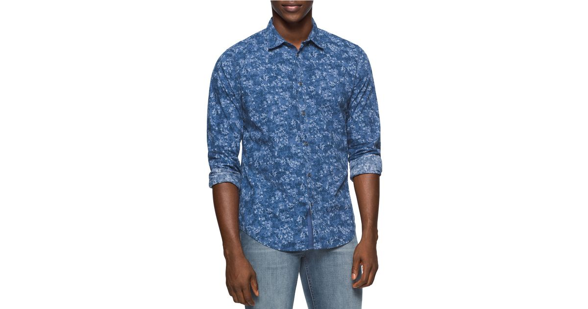 calvin klein jeans floral chambray sportshirt in blue for. Black Bedroom Furniture Sets. Home Design Ideas