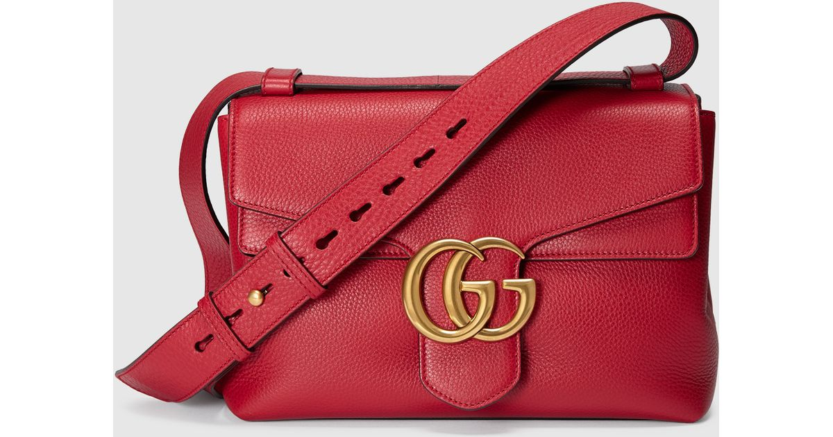 27e53b77285 Lyst - Gucci Gg Marmont Leather Shoulder Bag in Red
