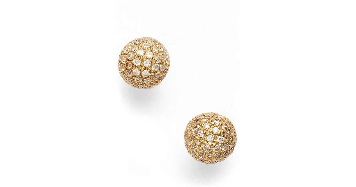 Lyst Bony Levy Diamond Pave Ball Stud Earrings Limited Edition Nordstrom Exclusive In Metallic