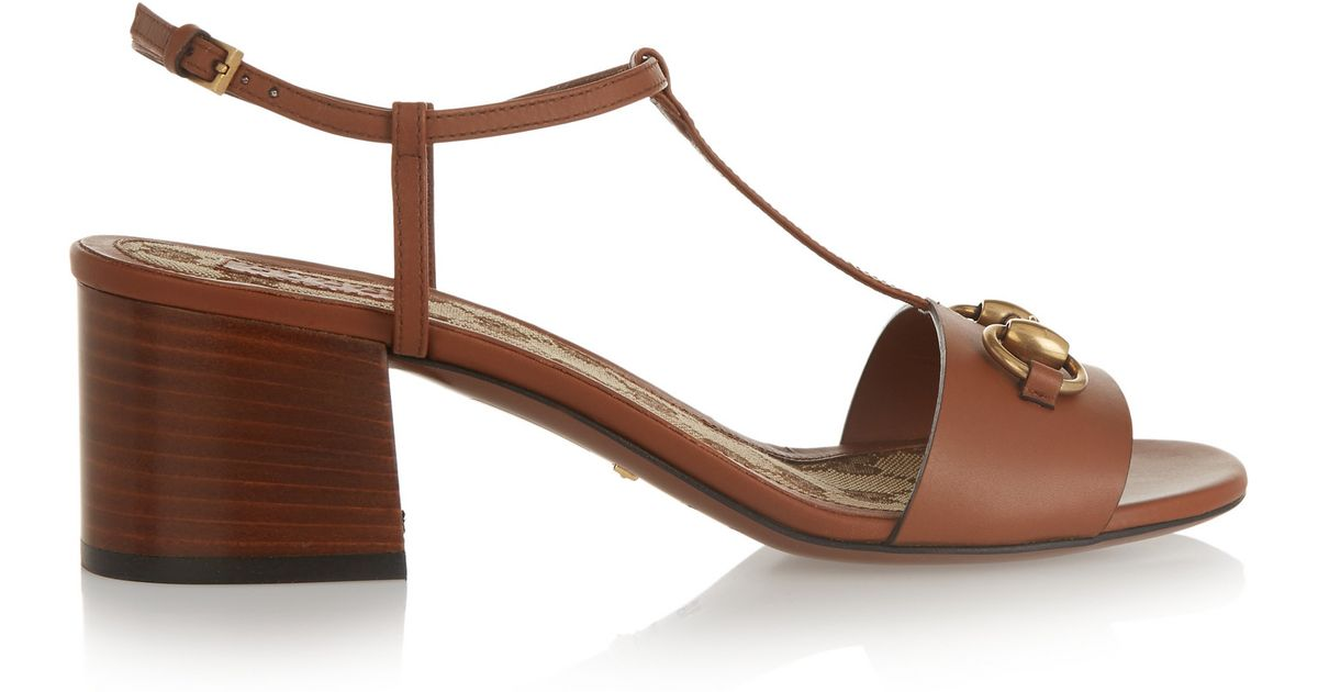 8ea2096957c20 Gucci Horsebit-detailed Leather Sandals in Brown - Lyst