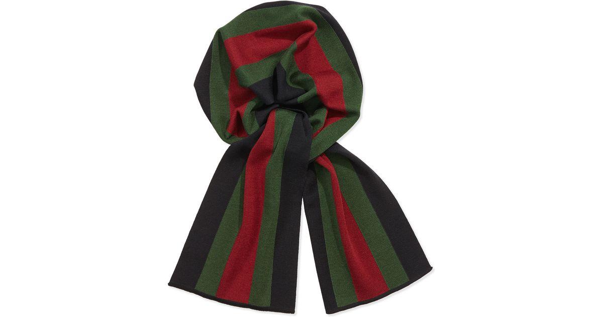 d27d2970 Gucci Green Crook Knit Striped Scarf