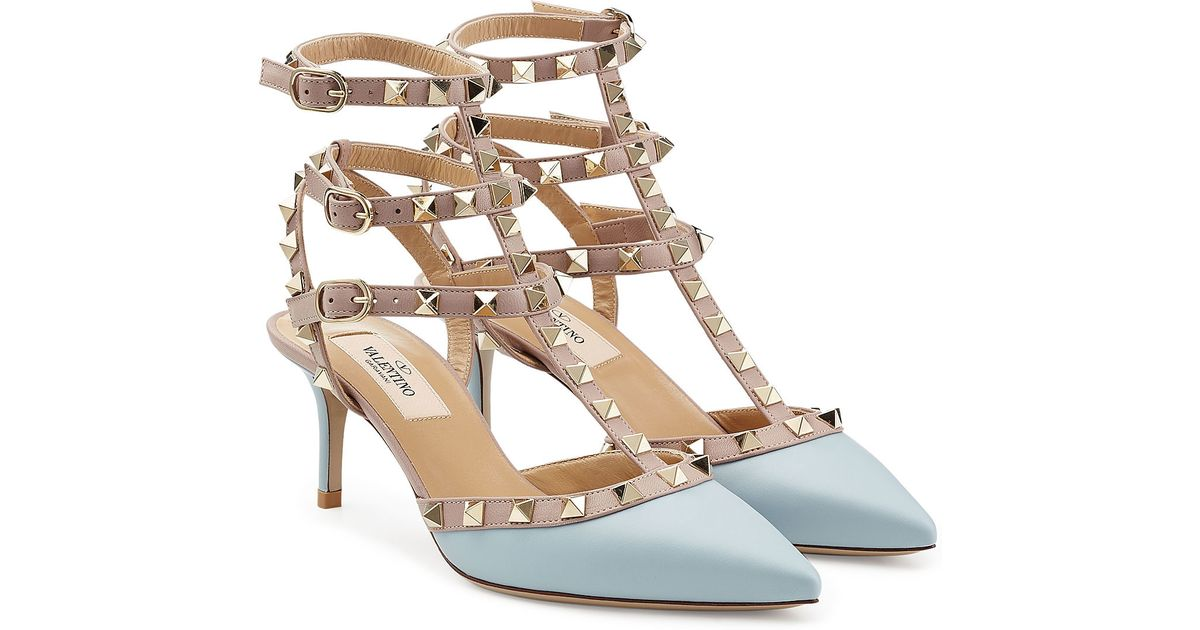 valentino rockstud leather kitten heel pumps blue in blue lyst. Black Bedroom Furniture Sets. Home Design Ideas