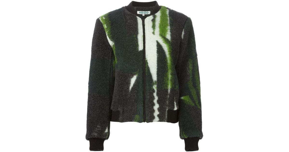 4e664b0f6b5a5 Kenzo Fuzzy Bomber Jacket in Green - Lyst