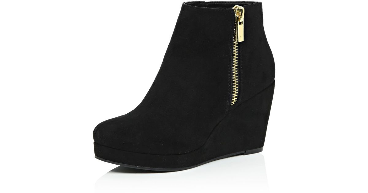 dde28cb94e3 River Island Black Wedge Ankle Boots