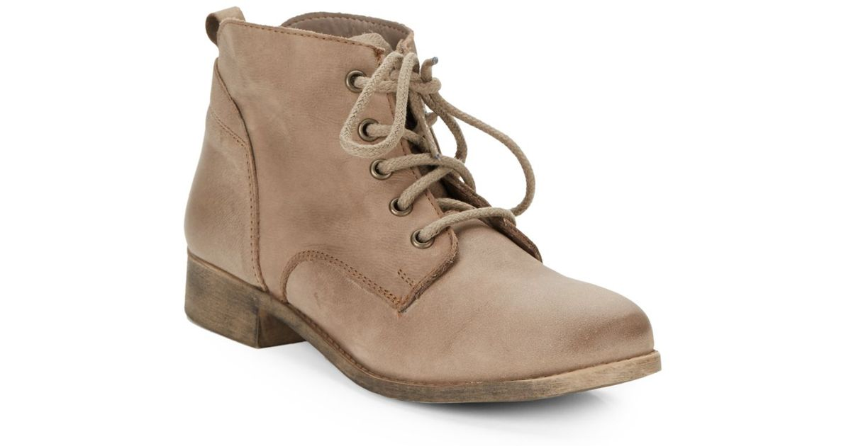 half off 2018 sneakers usa cheap sale Steve Madden Natural Rubin Leather Lace-up Ankle Boots for men
