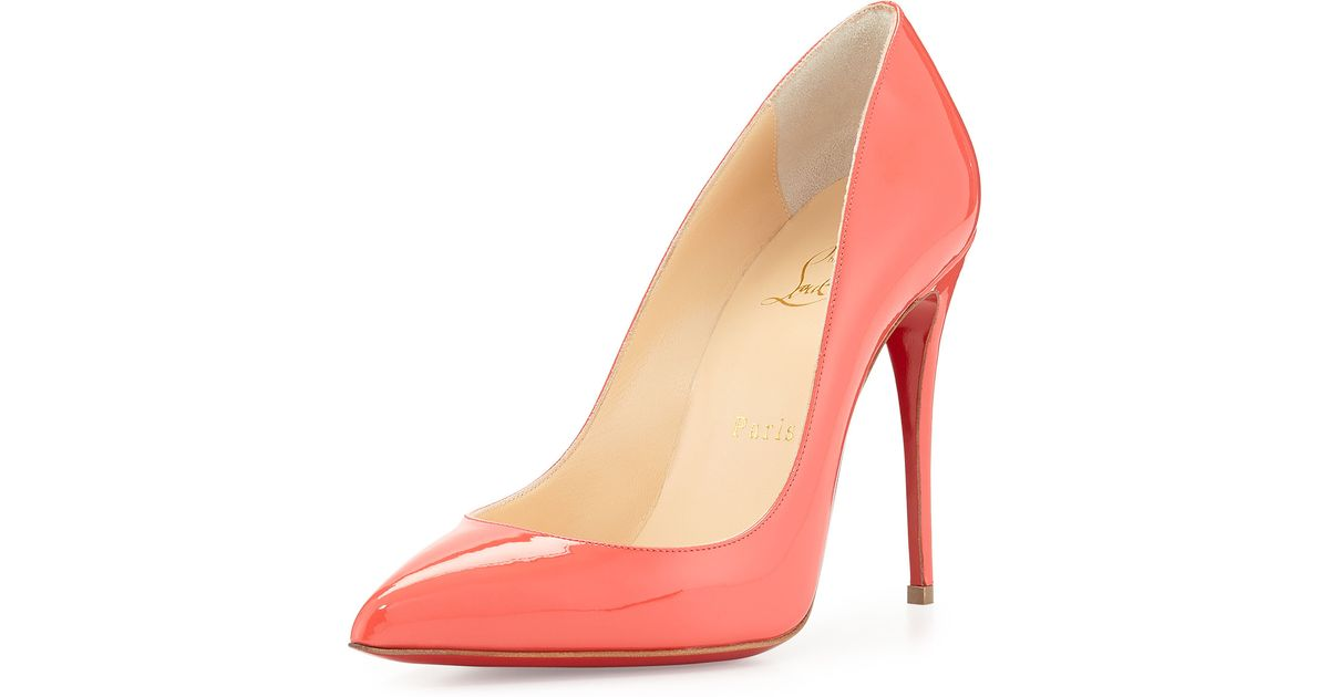 a898de10c2e Lyst - Christian Louboutin Pigalle Follies Patent Point-Toe Red Sole Pump  in Orange