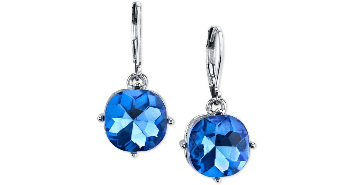 2028 silver tone blue drop earrings in blue silver