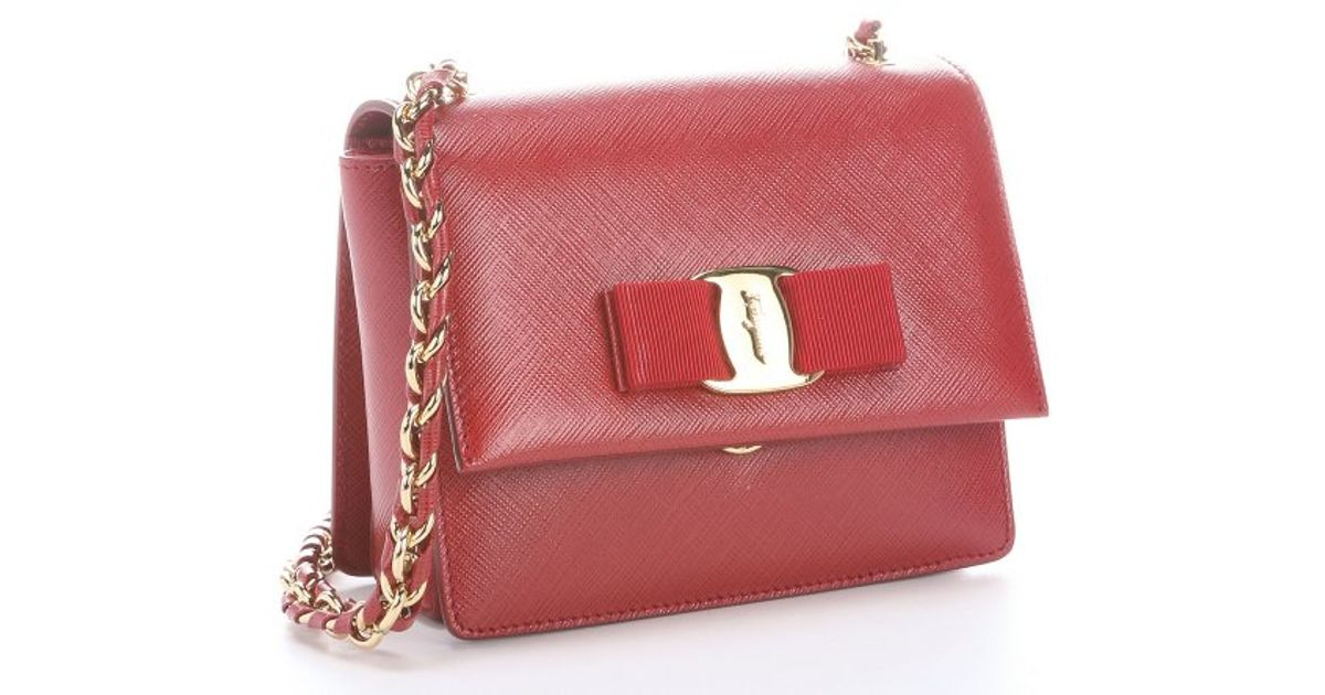 Lyst - Ferragamo Red Leather  Ginny  Bow Detail Mini Shoulder Bag in Red d9cb91058bd3d