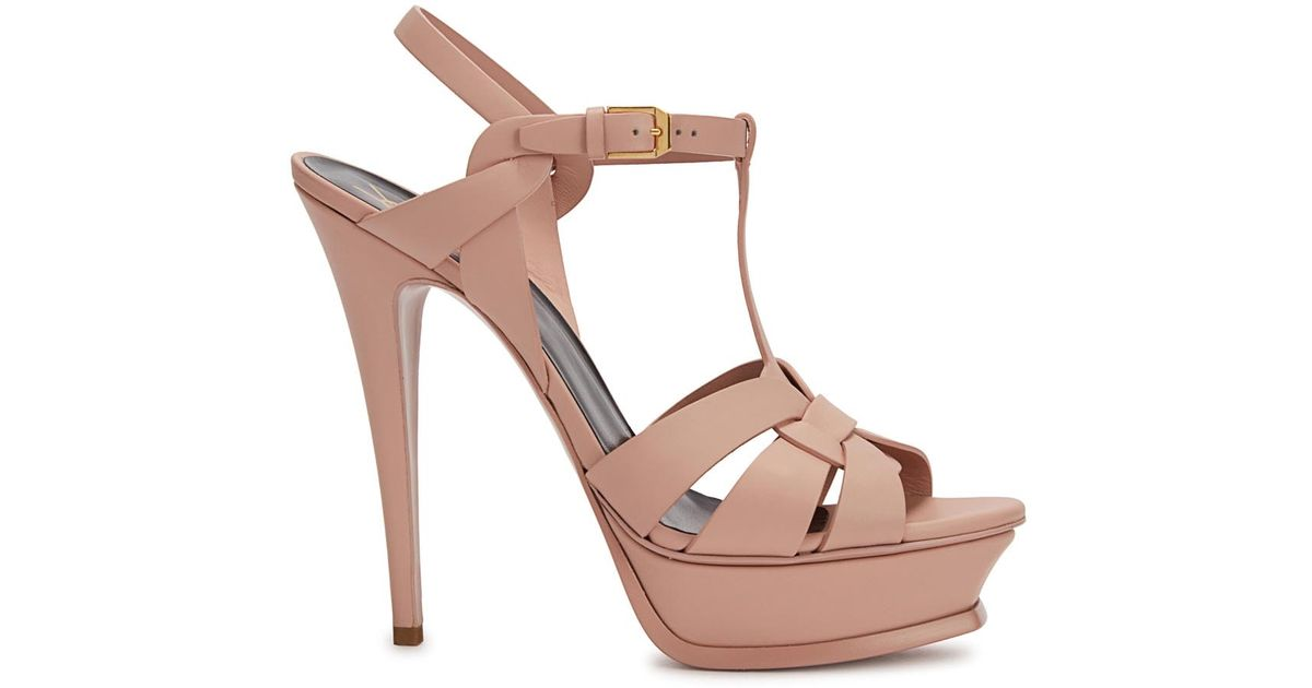 557892a788b Saint Laurent Tribute Blush Leather Sandals in Pink - Lyst