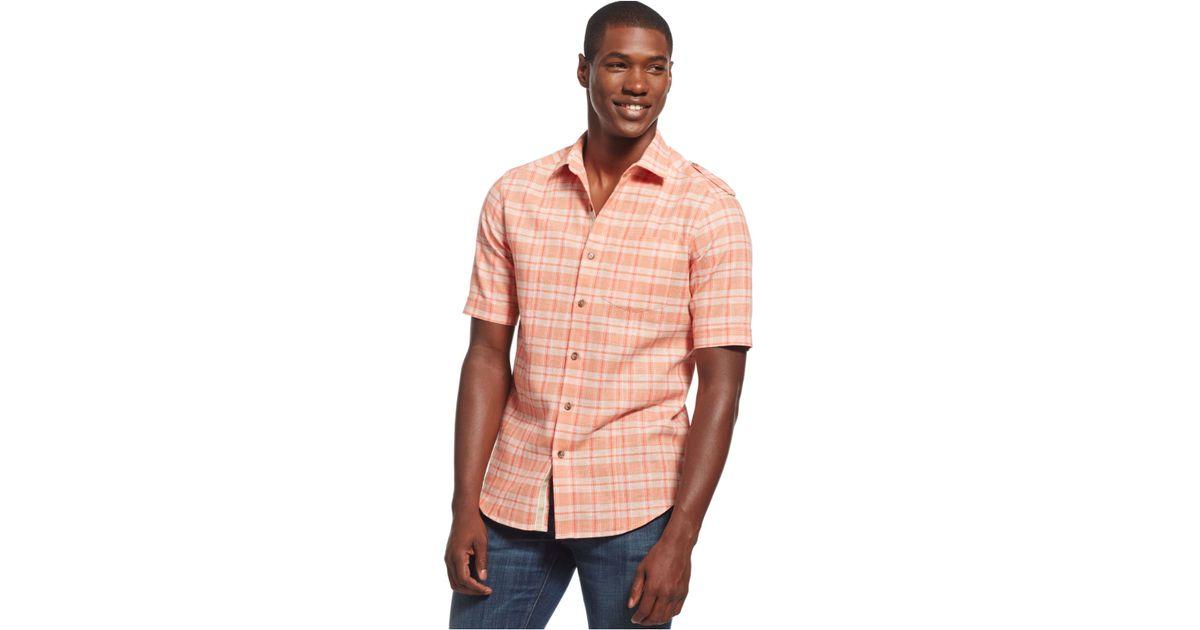 Lyst - Sean john Big And Tall Check Shirt in Orange for Men