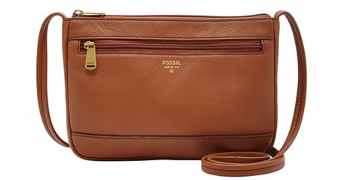 6b7b93276ac Fossil  mini  Leather Crossbody Bag in Brown - Lyst