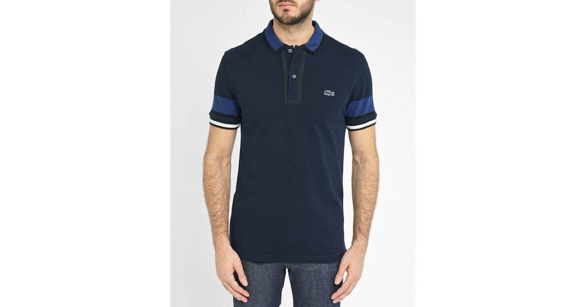lacoste black navy two tone made in france polo shirt in black for men lyst