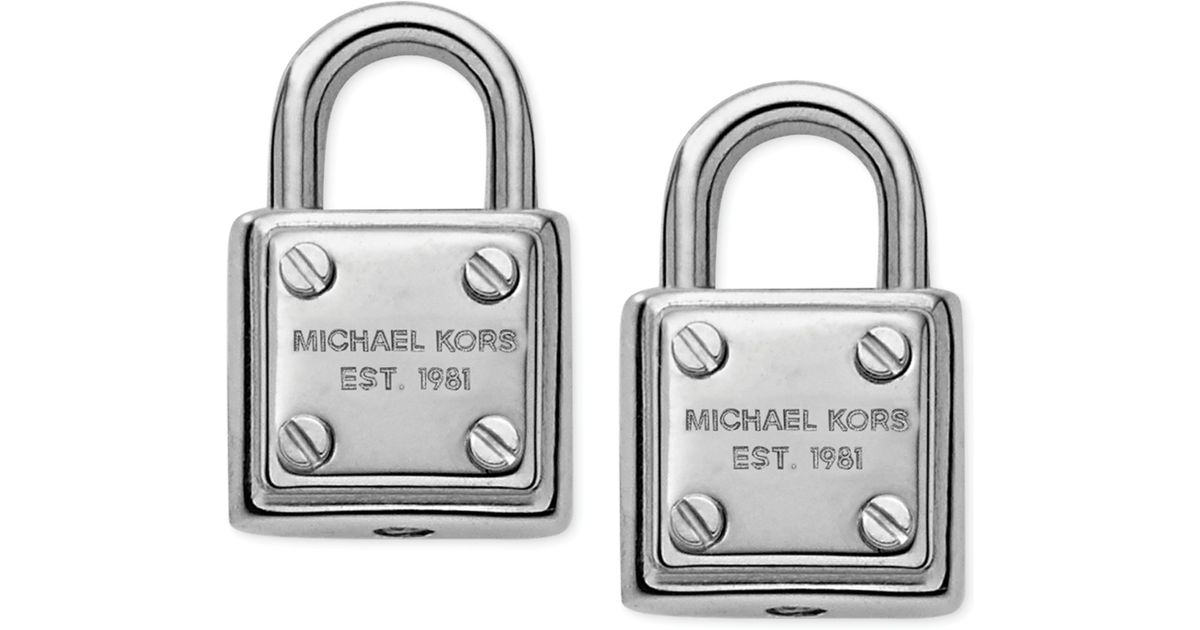 eec17349d Michael Kors Silvertone Logo Padlock Stud Earrings in Metallic - Lyst