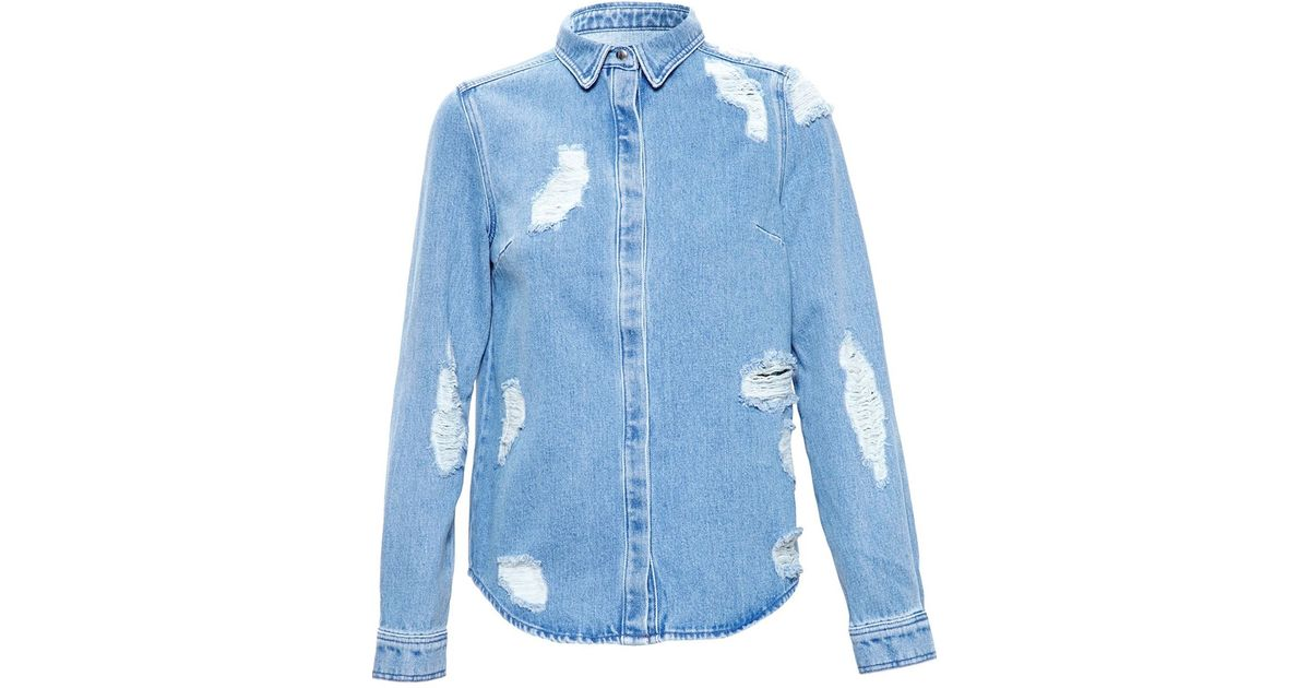 06668a577f Lyst - House of Holland Distressed Denim Shirt With Lace Embroidery in Blue