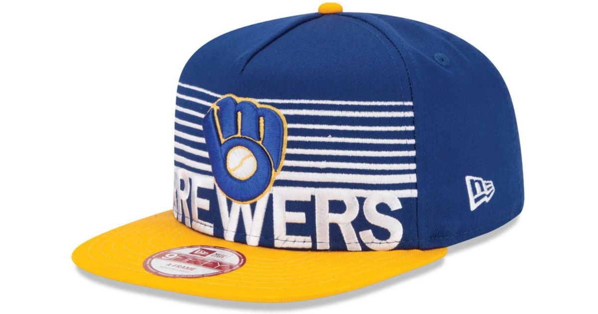 pretty nice 45d12 3886f ... usa lyst ktz milwaukee brewers strike stack 9fifty snapback cap in blue  for men fe101 e30cd