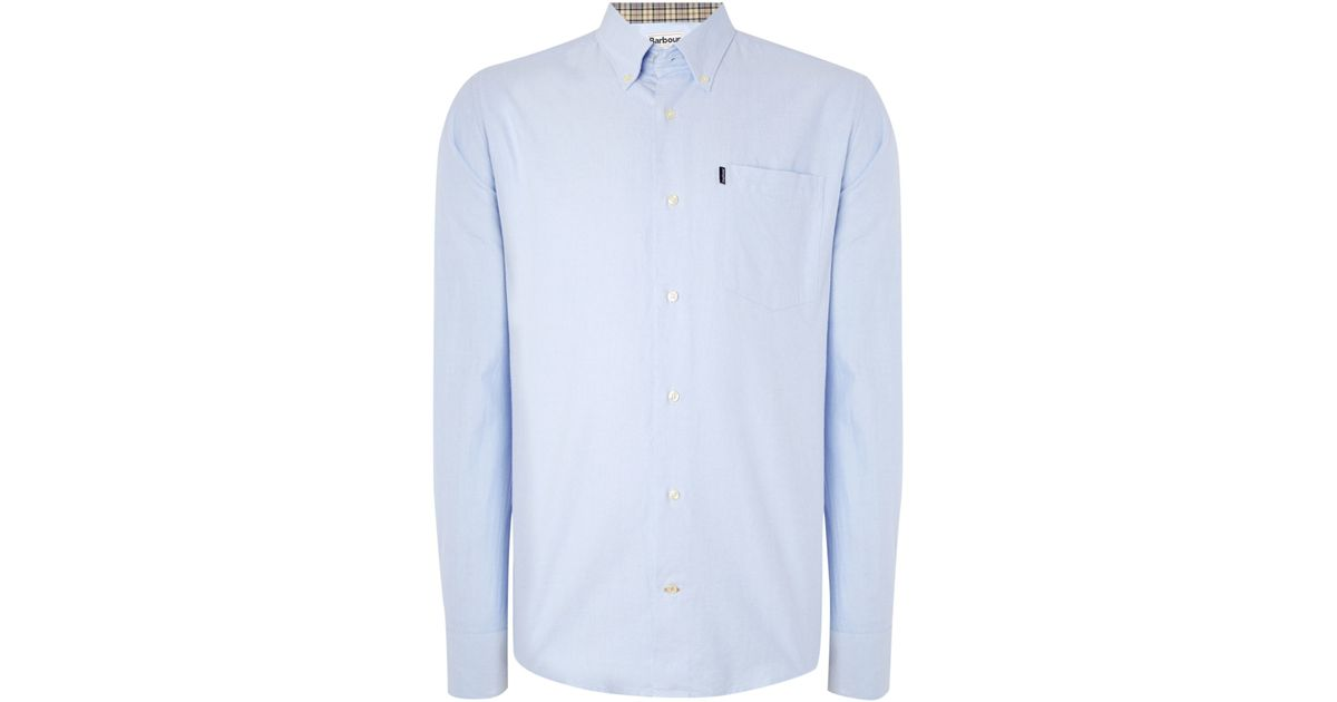 Barbour the oxford long sleeve button down shirt in blue for Oxford long sleeve button down shirt