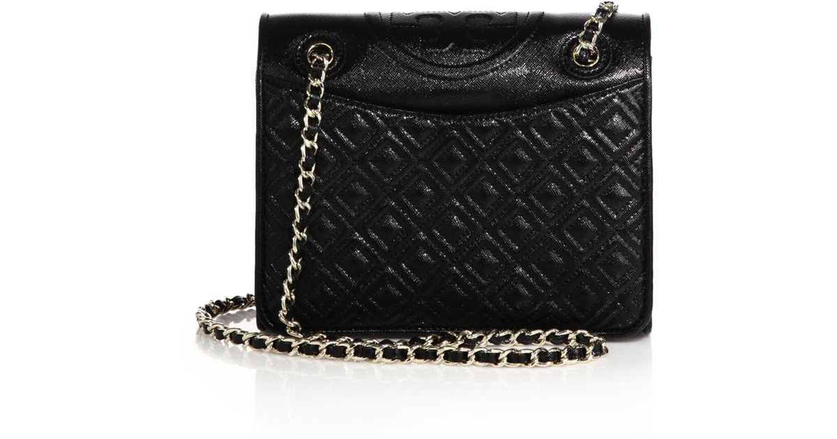 779721e98c87 Lyst - Tory Burch Fleming Patent Saffiano Leather Shoulder Bag in Black