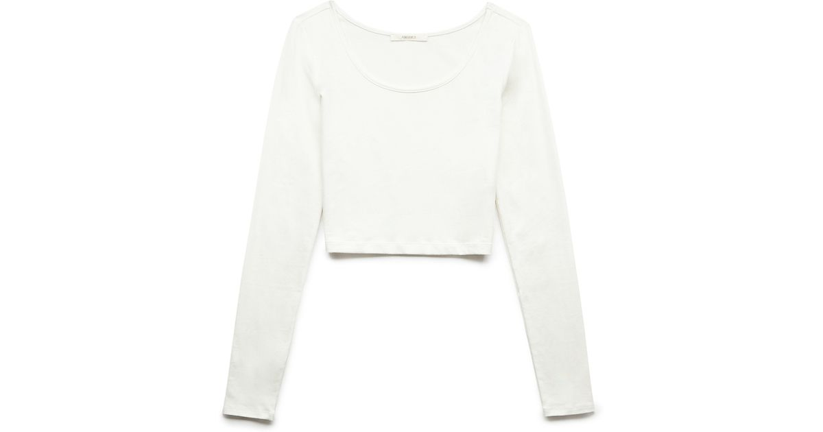 dfb1b60a702214 Lyst - Forever 21 Basic Long Sleeve Crop Top in White