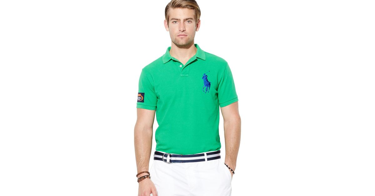 c5a08803 Ralph Lauren Green Polo Us Open Custom Big Pony Polo Shirt Slim Fit for men
