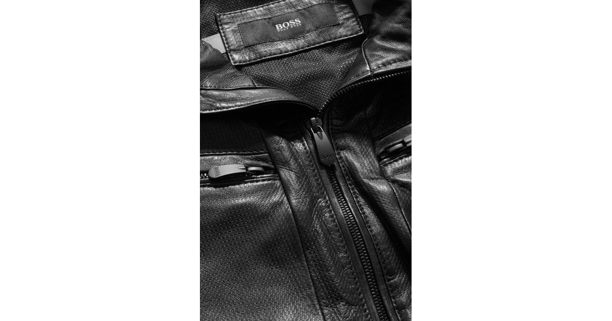 Boss alven genuine leather jacket in black for men lyst for Mercedes benz leather jacket