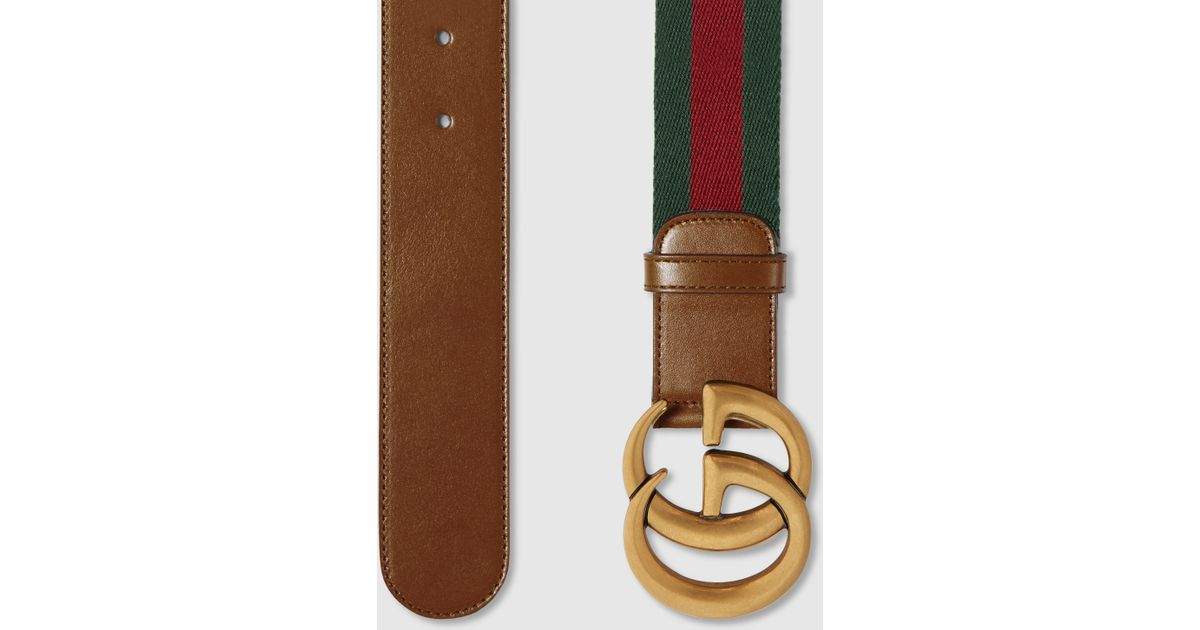 812b3ce751c Lyst - Gucci Web Belt With Double G Buckle in Brown
