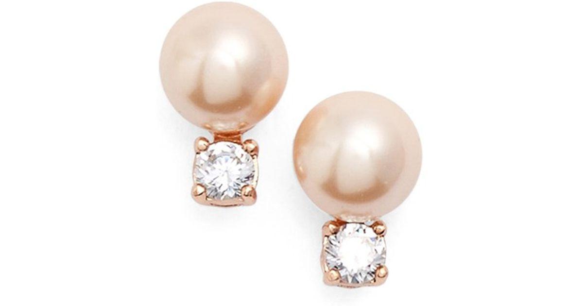 Lyst Kate Spade New York Pearls Of Wisdom Faux Pearl Stud Earrings In Brown