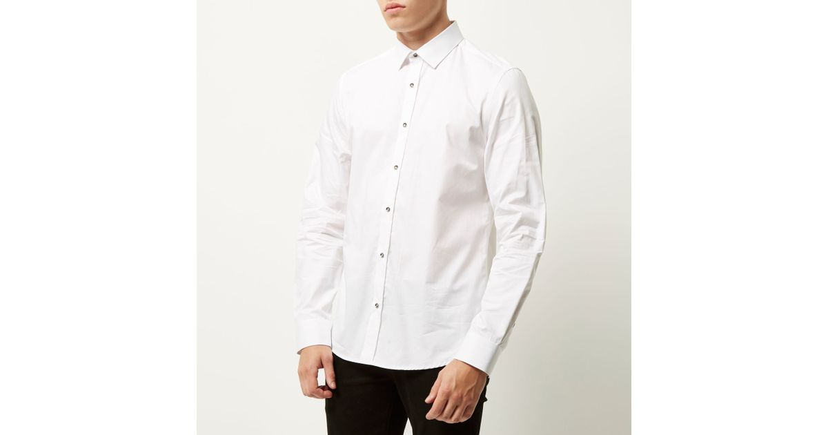 d9959bc705 River Island White Smart Metal Button Slim Shirt for men