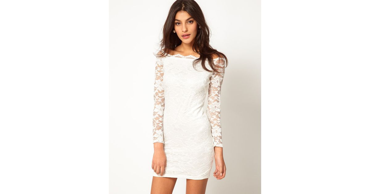 Asos Natural Bodycon Lace Dress With Off Shoulder