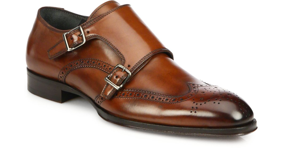 5c2688df8498 Lyst - To Boot Burns Leather Double Monk-strap Wingtips in Brown for Men