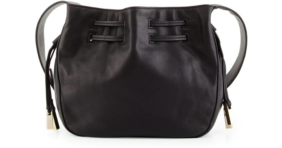 684e32018a Lyst - Halston Bianca Medium Leather Bucket Bag in Black