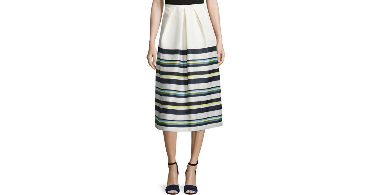 jil sander navy pleated front striped skirt in blue lyst