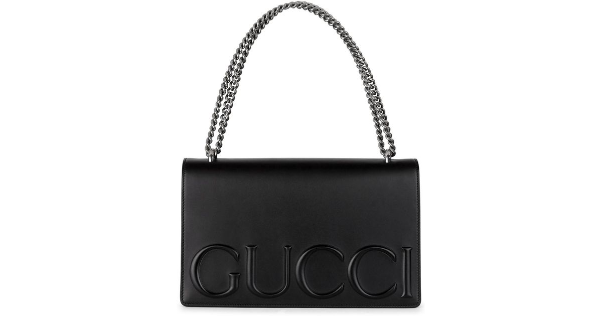 bc03e9ffe Gucci Xl Black Embossed Leather Shoulder Bag in Black - Lyst