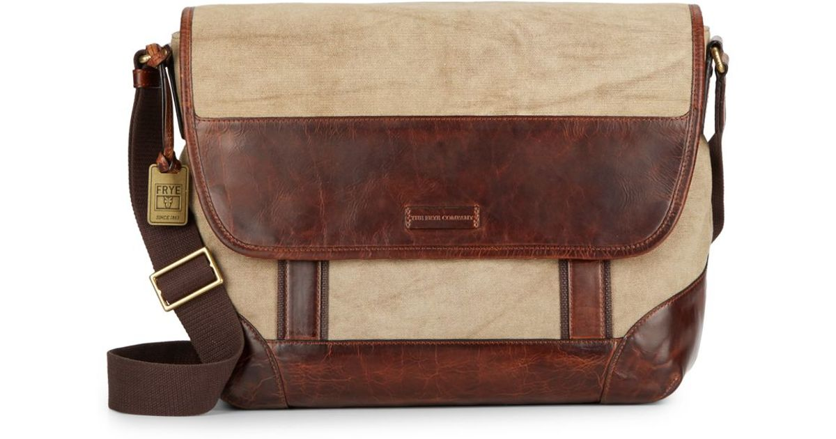 Frye Harvey Leather amp Textile Messenger Bag In Brown tan