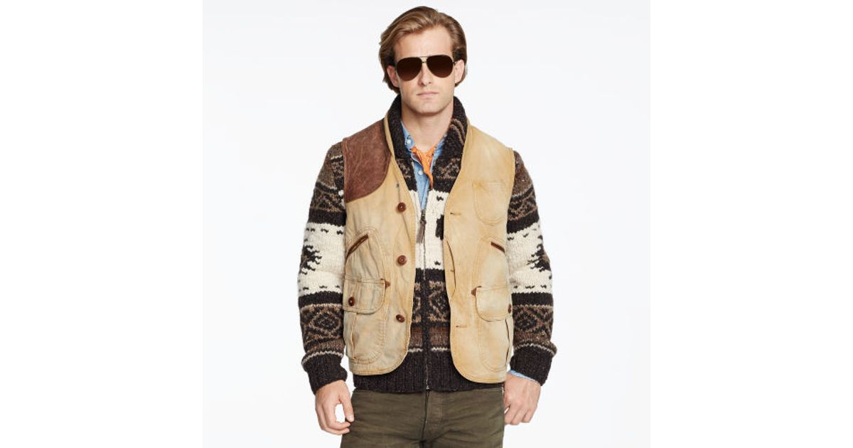 For Hunting Natural Polo Vest Duck Canvas Ralph Men Lauren UzVqSMGLp