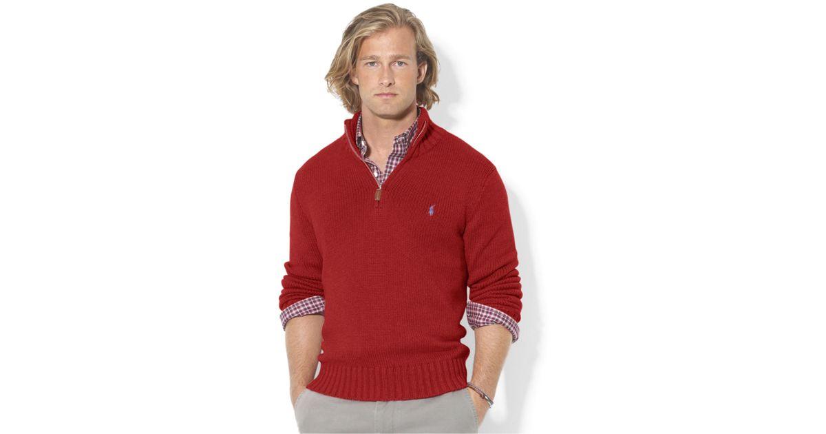 Lyst - Polo ralph lauren High-twist Cotton Half-zip Mockneck ...