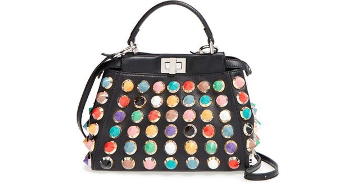 9c5ed32902 ... best fendi mini peekaboo studded leather bag in black lyst 5b094 4bfa5