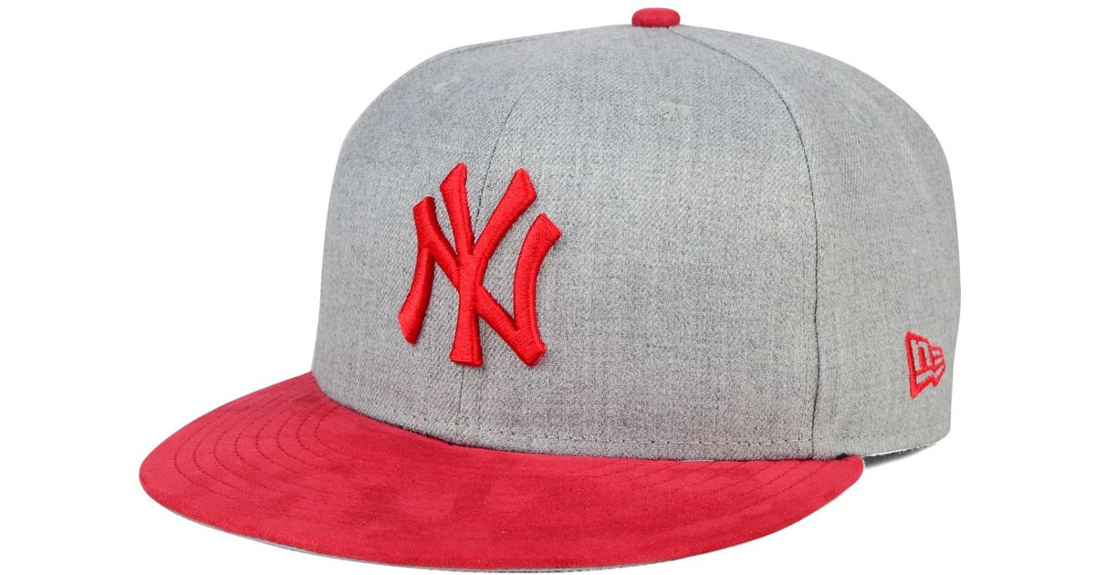 41d342e8645 usa lyst ktz new york yankees heather on faux suede 9fifty snapback cap in  red for