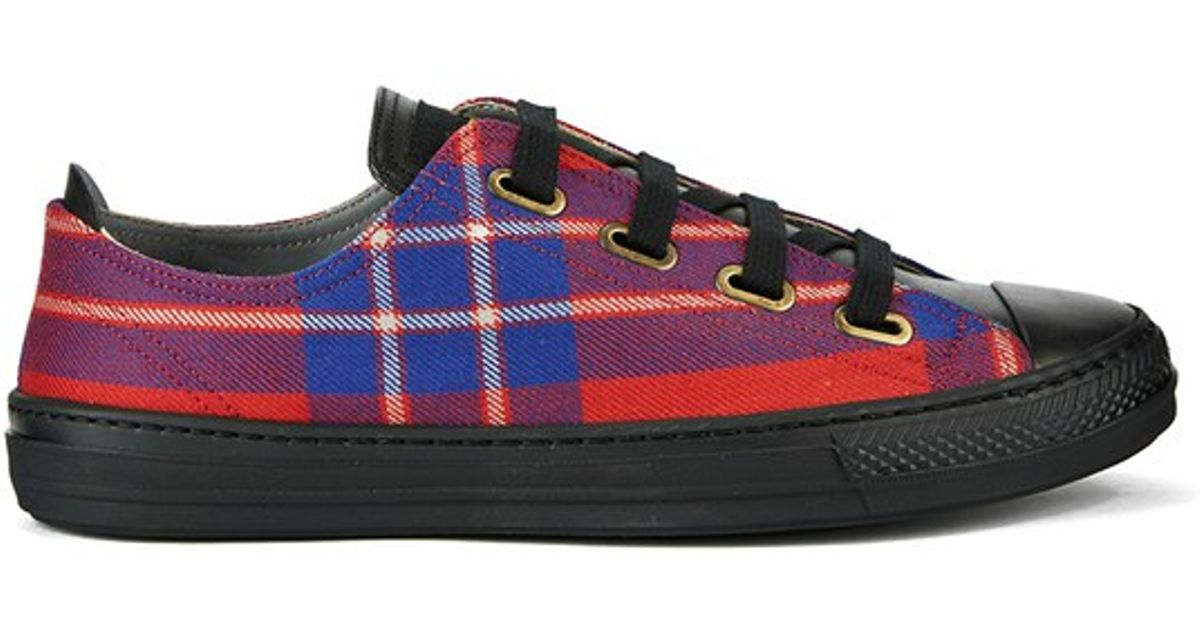 cc01674510f Vivienne Westwood Anglomania Red Women's Low Basket Tartan Fabric Luxury  Trainers