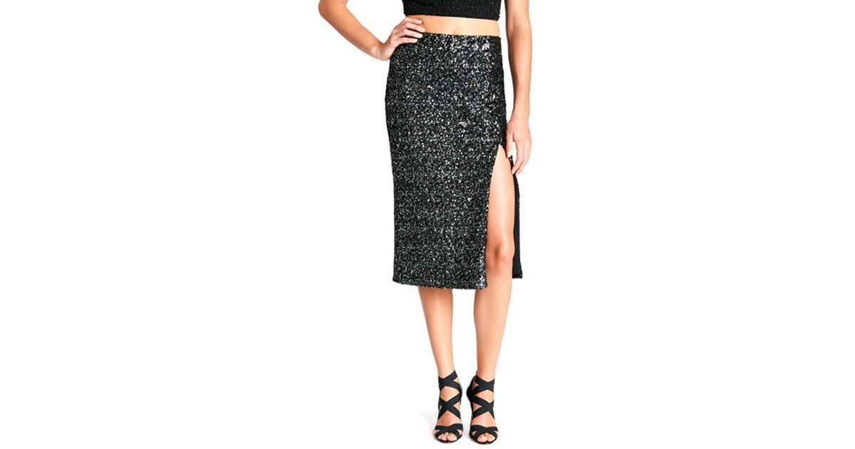 dress the population alessandra sequin midi skirt in