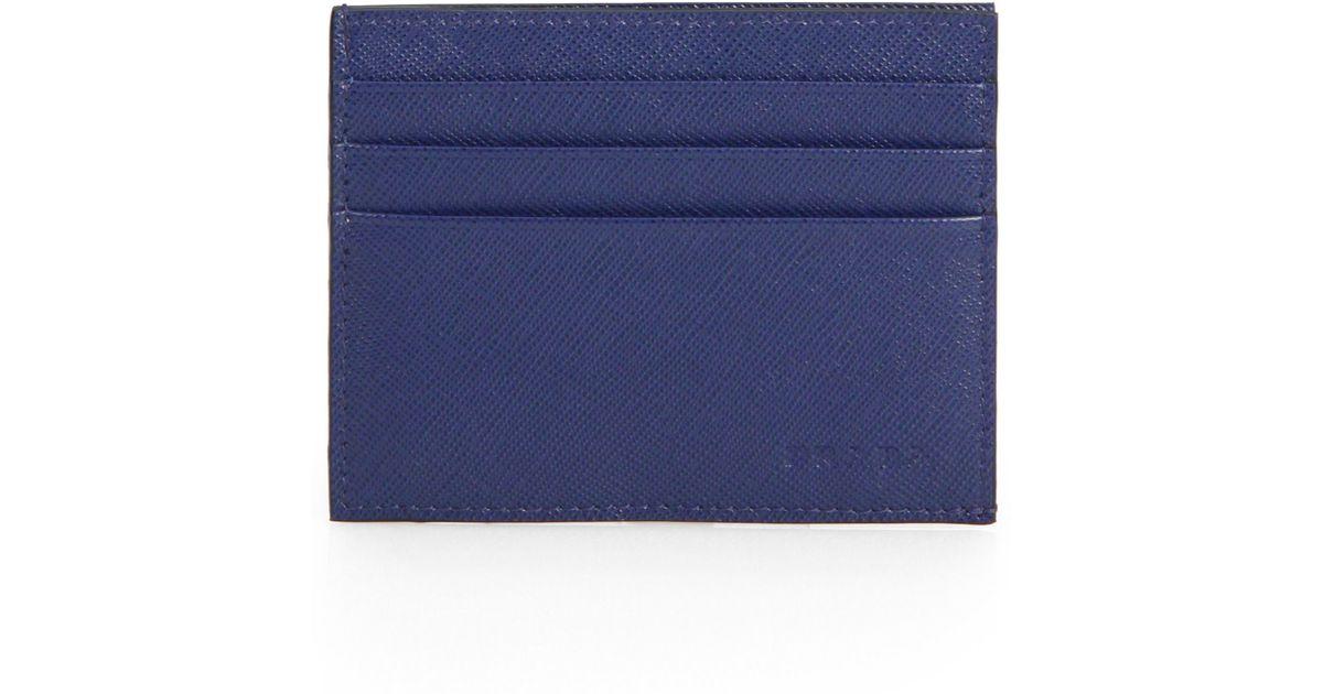 Prada Saffiano Leather Card Case in Blue for Men | Lyst