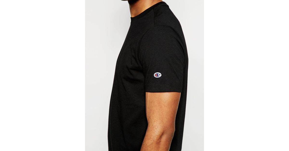 4aa214cb Champion T-shirt With Small Arm Logo in Black for Men - Lyst