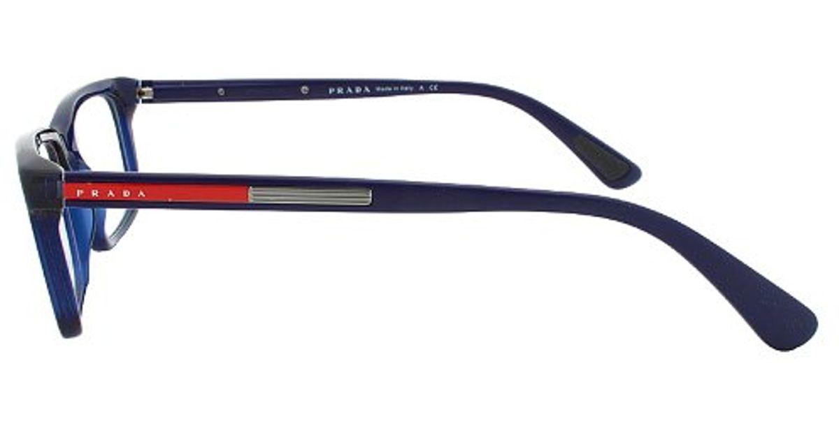 Prada Eyeglass Frames Vps 02c 0ax-1o1 Navy Blue Frame Lyst
