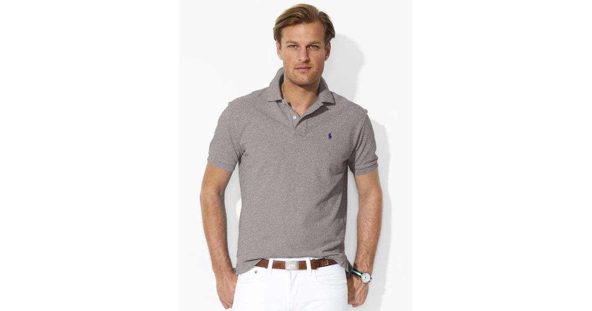 036c0213 Polo Ralph Lauren Classic-fit Mesh Polo in Gray for Men - Lyst