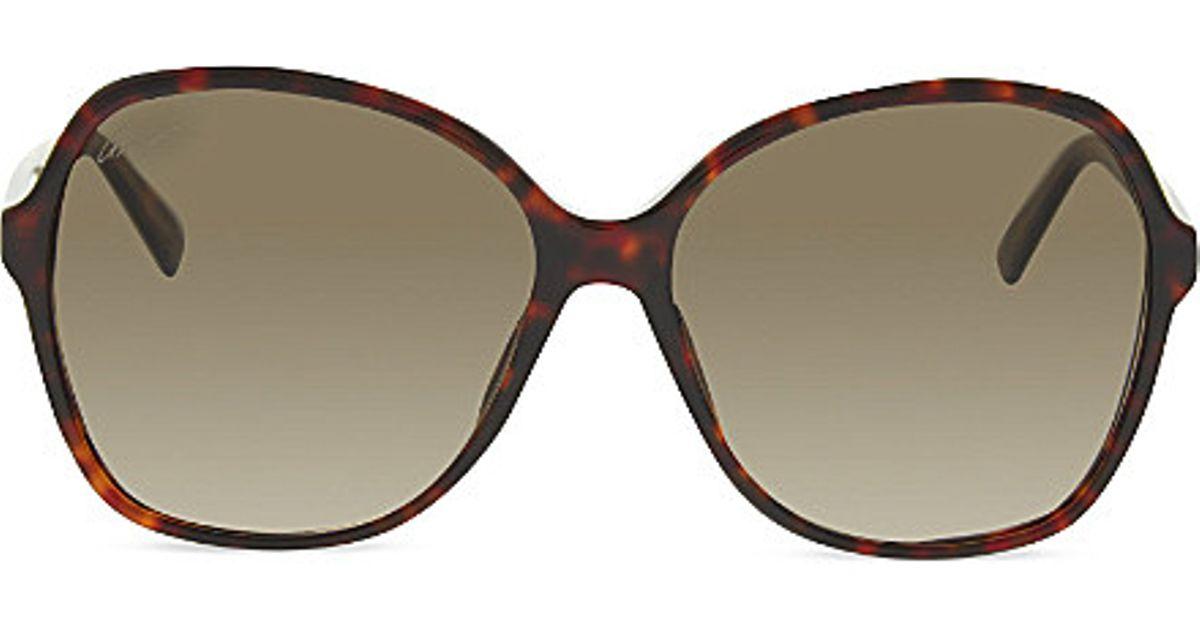 03e2000107b Gucci Gg3721 Oversized Tortoise Shell Sunglasses in Brown - Lyst