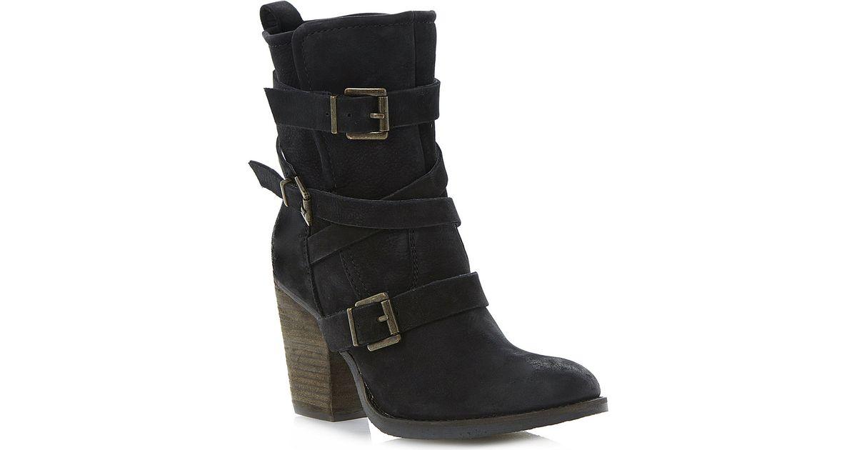 8faf24bdea0 Steve Madden Black Yale Heeled Buckle Ankle Boots