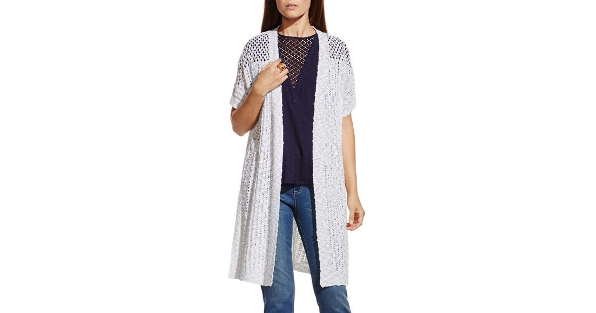 Two by vince camuto Short Sleeve Long Cardigan in White | Lyst