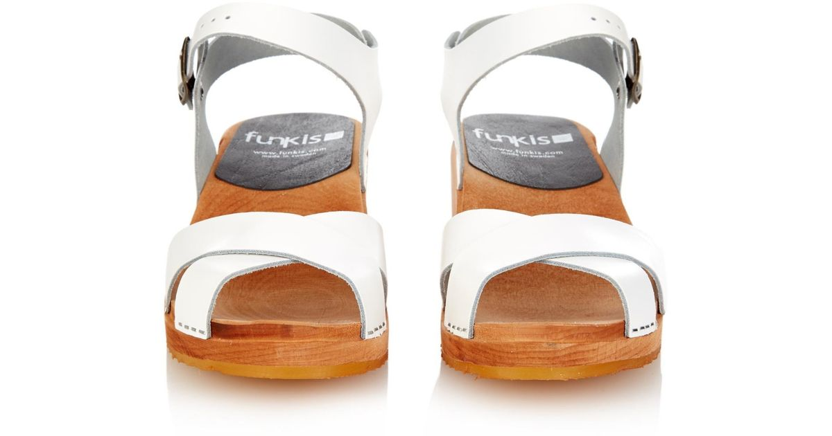 Funkis 667 Crossover Strap Leather Clogs In White Lyst