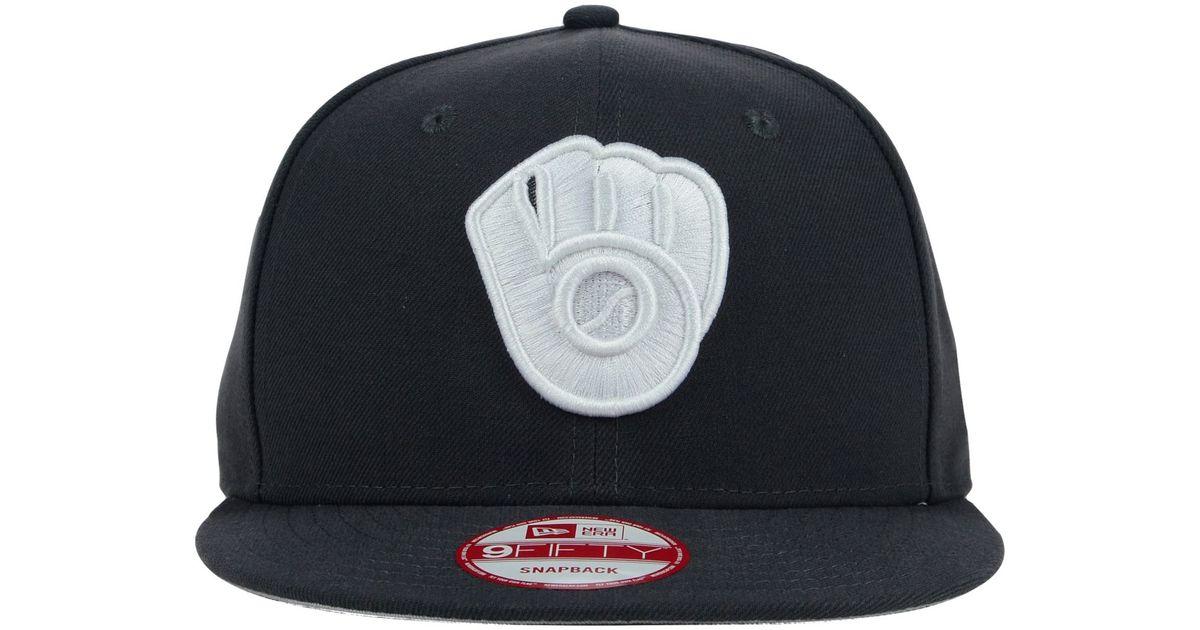 new arrive 8e72a cf0e5 Lyst - KTZ Milwaukee Brewers C-dub 9fifty Snapback Cap in Black for Men