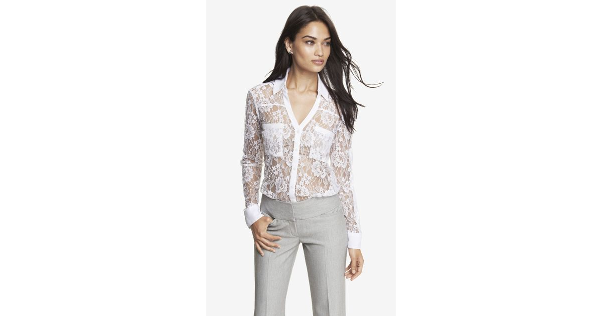 8d9999117a8a5 Lyst - Express Victorian Lace Convertible Sleeve Portofino Shirt in White