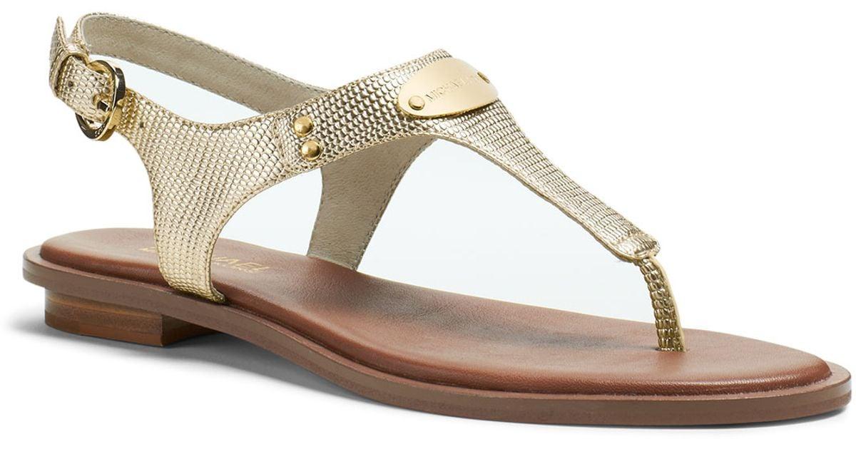 fb5673b3a Michael Kors Michael Plate Thong Sandal in Metallic - Lyst
